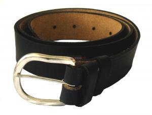 Ремень брючный, чёрный, узкий с металлической пряжкой, одношпеньковый. РПП-7/138-83-10