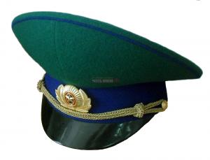 Фуражка зелёная ФСБ с высокой тульей. Васильковый кант.
