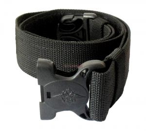Ремень чёрный, широкий с пластмассовой пряжкой с орлом МВД, тесьмяной.